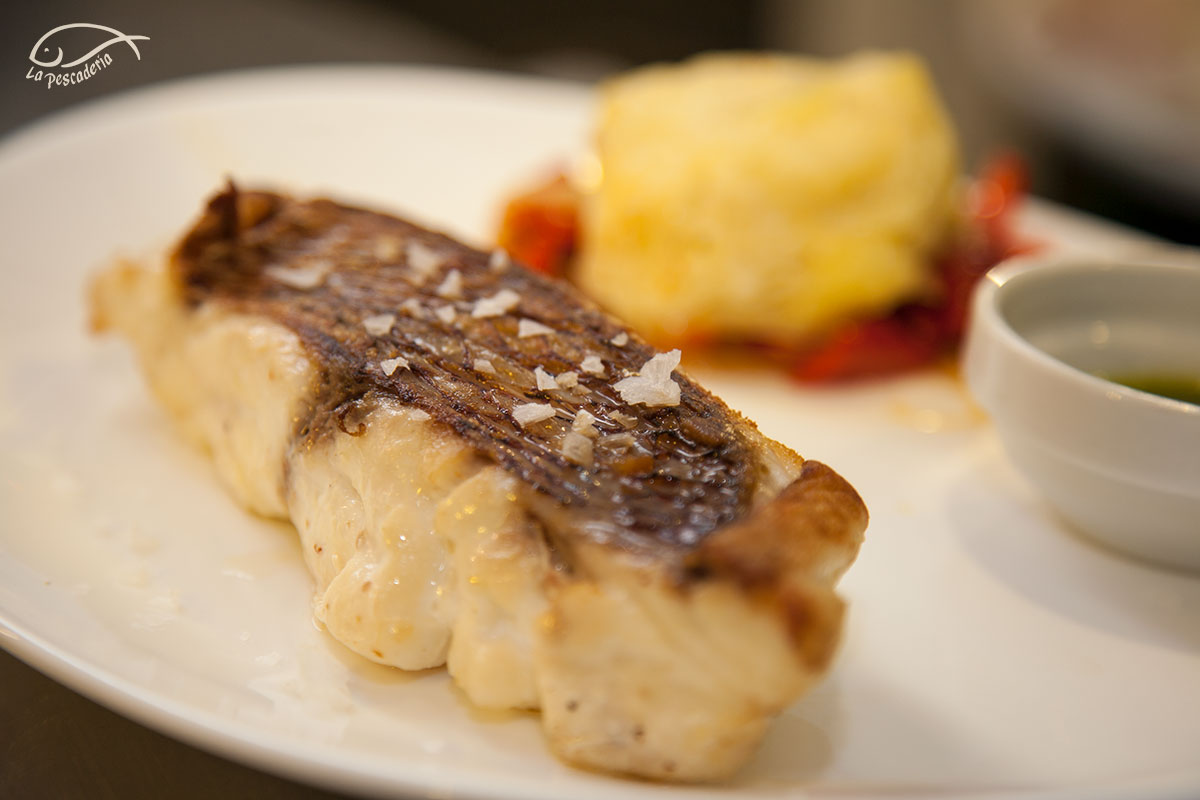 Mero con pipirrana de pimiento y patata gratinada